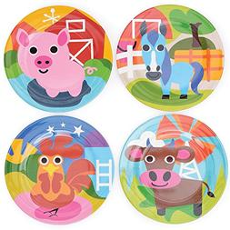 French Bull Kids Plate Set of 4 - BPA-Free, Tray, Animals, T