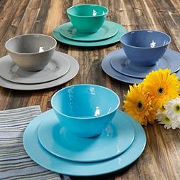 BRELA IN BLUE 12-PIECE MELAMINE DINNERWARE SET