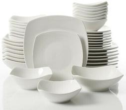 Brentwood 40-Piece White Soft Square Dinnerware Set