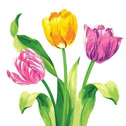 Amscam 16 Count Bright Tulips Luncheon Napkins, Multicolor