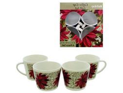 handy helpers Bulk Buys Poinsettia Design Coffee Cup Set, 4-