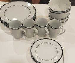 AmazonBasics 16-Piece Cafe Stripe Dinnerware Set, Service fo