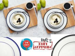 Cafe Stripe Dinnerware Set Service for 4 Durable Plate Round
