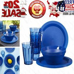 Cambridge Plastic Plate, Bowl and Tumbler Dinnerware | 12-pi