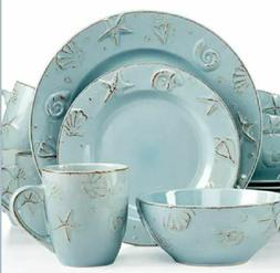 Thomson Pottery Cape Cod 16-Pc.Embossed Shells Dinnerware Se