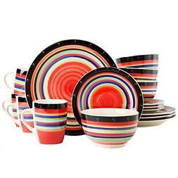 casa stella dinnerware set red 16 piece