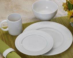 Pfaltzgraff Cassandra 16-Piece White Embossed Dinnerware Set