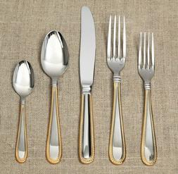 FORTESSA Caviar Gold Accent Flatware 5 Pc Place Setting Fork