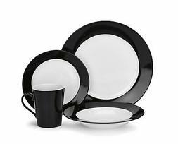 CDP01-S4WBK Reynes Collection 16-Piece Porcelain Dinnerware