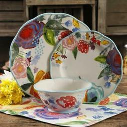 The Pioneer Woman Celia 12-Piece Dinnerware Set, Linen