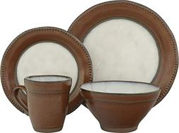 Sango 16 Piece Centric Sienna Dinnerware Set, Brown