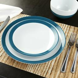 ceramic aqua and white stoneware dinnerware set