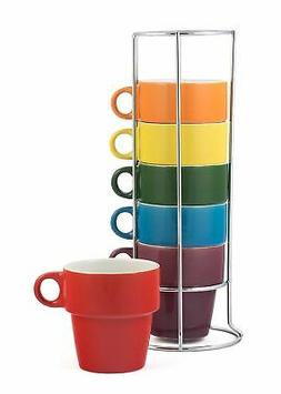 Gypsy Color 8 OZ. Americano Stacking Coffee Mug Set with Met