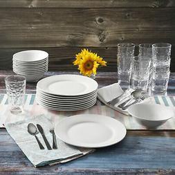 48 Piece Dinnerware Set Ceramic Dinner Plates Bowls Glass Tu