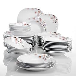 VEWEET 48-Piece Ceramic Dinnerware Set Flower Patterns Porce