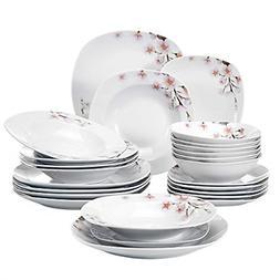 VEWEET 24-Piece Ceramic Dinnerware Set Ivory White Porcelain