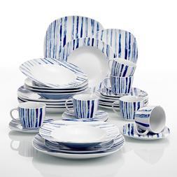 VEWEET Ceramic Dinnerware Set Ivory White Plate Sets Kitchen