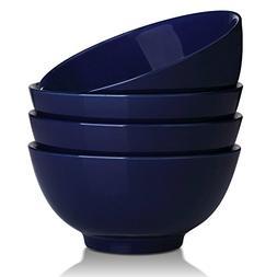 DOWAN 20 Ounce Ceramic Soup/Cereal Bowls - 4 Packs, Navy Blu