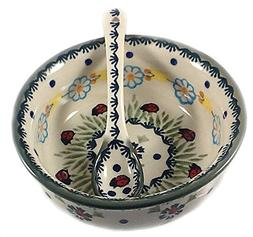 Polish Pottery Baby Cereal Bowl & Matching Spoon - IF45 Lady