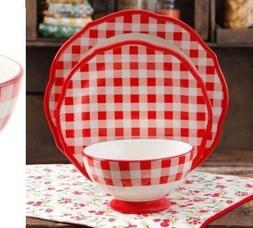 Pioneer Woman Charming Check Plaid Dinnerware Set 12 Piece R