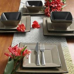 Gibson Studio Chelsea Lane 12-Piece Red Hard Square Dinnerwa