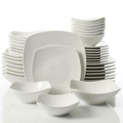 Gourmet Expressions 40-Piece White Square Dinnerware Service