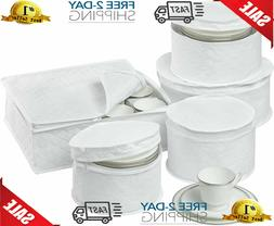 China Storage Set 6 Box Quilted Cases Dinnerware Keepers Fin