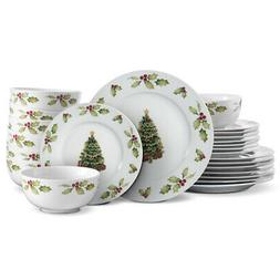 Pfaltzgraff Christmas Day 24 Piece Dinnerware Set, Service f