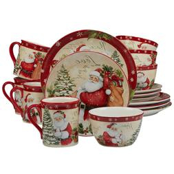 Christmas Dinnerware Set Ceramic Round 16 Piece Dinner Plate