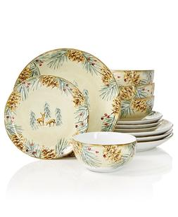 222 FIFTH CHRISTMAS FIRST SNOW 12 PIECE DINNERWARE SET CABIN
