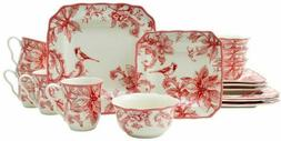 222 FIFTH CHRISTMAS LANE 16 PIECE DINNERWARE NIB POINSETTIAS