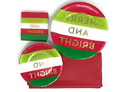 Christmas Merry & Bright Party Set of Disposable Dinnerware: