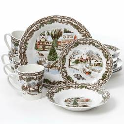 Gibson Home Christmas Toile 16 Piece Dinnerware Set Dishes P