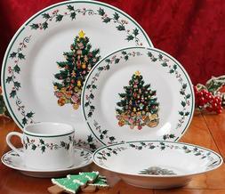 Gibson Christmas Tree 20 Piece Dinnerware Set, Service for 4