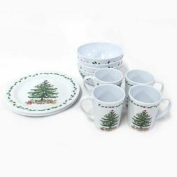 Christmas Tree Melamine Dinnerware, 12-Piece Set