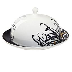 Denby Chrysanthemum Boxed Butter Dish & Stand - Black