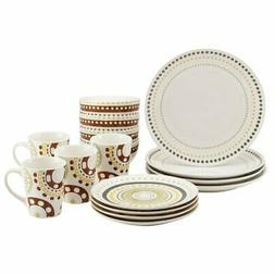 Rachael Ray Circles and Dots Stoneware 16-Piece Dinnerware S