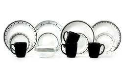 Corelle Classic 16-Piece Black & White Mix and Match Dinnerw