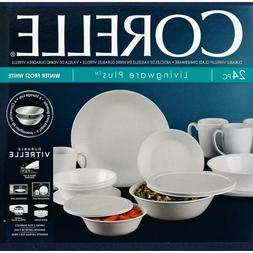 Corelle Classic 24-Piece Winter Frost White Dinnerware Set