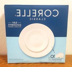 Corelle Classic Dinnerware 10 Pc Set Winter Frost White