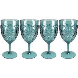 Le Cadeaux Classic Fleur Teal Blue 4 Piece Wine Glass Set