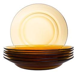 Classic Round Glass Soup Bowl, Pasta/Salad Plate in Orange -