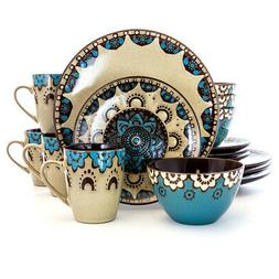 Elama Clay Heart 16 Piece Dinnerware Set in Tan and Blue by