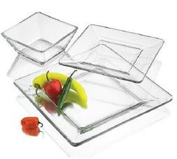 Clear Glass 12 piece Square dinnerware Set Service for 4 NEW
