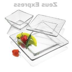 Clear Square Dinnerware Set 12-24-36 Piece Service 4-8-12  D