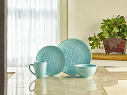 Coastal Dinnerware Set Teal Blue Stoneware Round Dinner Serv