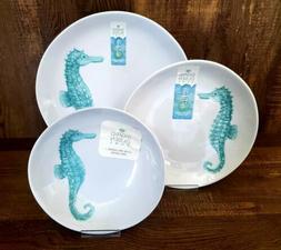 Sigrid Olsen Coastal Green Seahorse MELAMINE Dinner Plates B