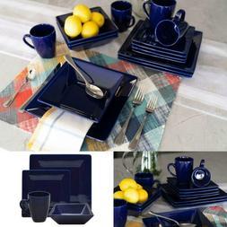 Cobalt Dinnerware Set Kitchen Dining Square Dishes Plates Mu
