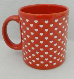 Waechtersbach Coffee Mug HEARTS Red Background 12 oz NOS Cup