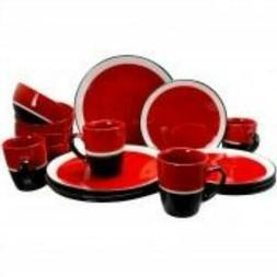 Gibson Color Eclipse 16 Piece Dinnerware Set in Red